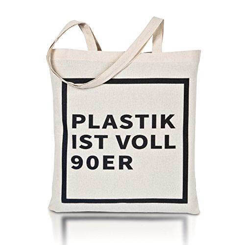 avoid waste - Jutebeutel Bedruckt - Nachhaltige Einkaufstasche mit Aufdruck und Langen Griffen (Plastik...