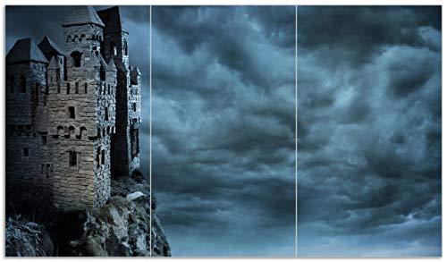 Wallario Herdabdeckplatte/Spritzschutz aus Glas, 3-teilig, 90x52cm, für Ceran- und Induktionsherde, Altes Geisterschloss (Lego Herd)