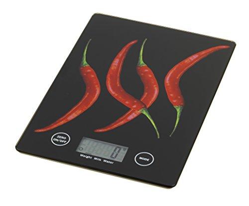 Wenko 25223100 Küchenwaage Slim Peperoni - elektronische Digitalwaage mit Sensor-Tastatur und Tara-Funktion, Gehärtetes Glas, 14 x 1,2 x 19,5 cm, Multicolor