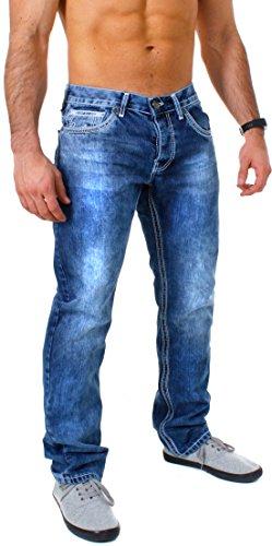 b1c040bb2a02 Amica Herren denim Jeans Hose straight leg gerade Passform vintage look mit  Kontrastnähte, Grösse W32 Farbe Blau   Weiß
