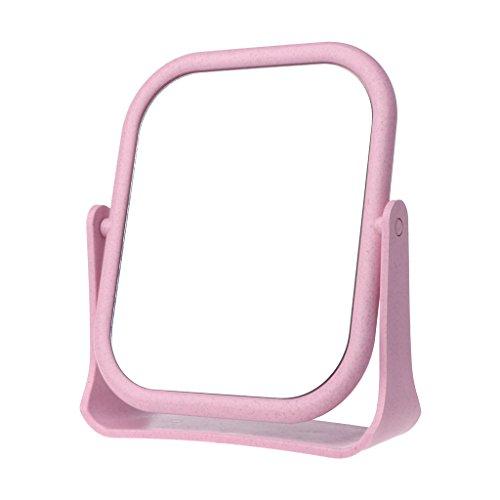Huijun Desktop-Quadrat Doppelseitig Drehbare Weizenstroh Kosmetikspiegel (Pink)