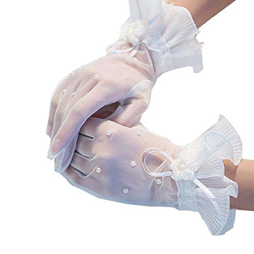 Frauen kurze schiere Spitzenhandschuhe Braut Hochzeit Handschuhe -
