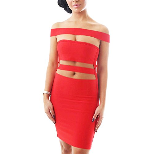HLBandage Women's Sexy Off the Shoulder Cut Off Slash Neck Bodycon Bandage Dress Rosso