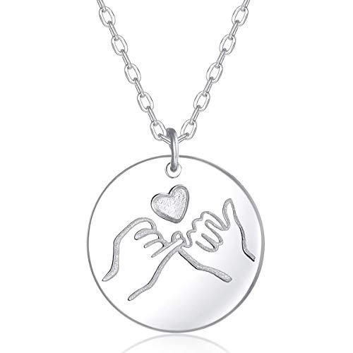 Damen Halskette mit Runde Disk Anhänger in 925 Sterling Silber für Weihnachten Geburtstag Geschenk Valentinstag Jubiläum