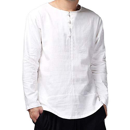 KPILP Herren Chinesisch Kung Fu Solide Volksbrauch Cotton Slim Langarm Casual Smart Shirt lose Top Bluse(Weiß, M) -