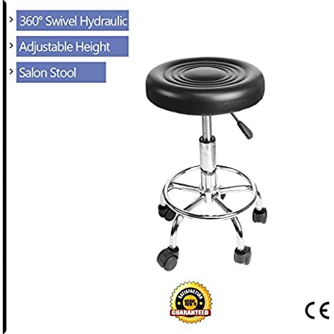 Iglobalbuy girevole regolabile Ascensore Salon Spa Sedia rotonda Bar Stool Gas sollevare Nail Barber tatuaggio (Pelle Reception Nero Sedia)