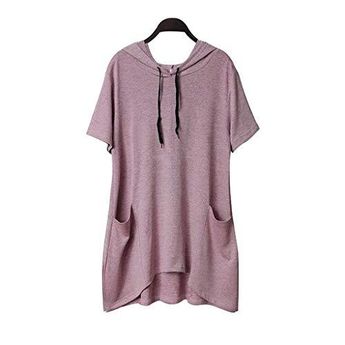 Yvelands Damen Sweatshirt Pullover Lässige Print Katzenohr Kapuze Kurze Ärmel Pocket Top Bluse Shirt(Pink1,XXL)