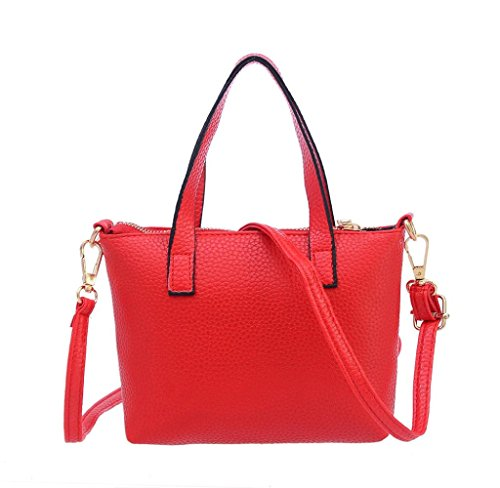 SW Donne Moda Borsa Spalla Grande Tote Ladies Borsetta Portafoglio (Nero) Rosso