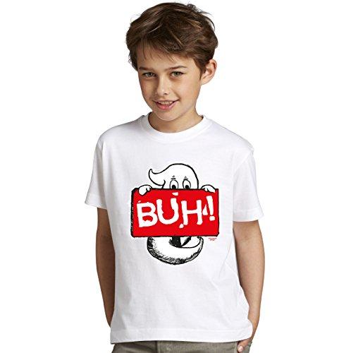 Halloween-Kostüm-Kinder-Jugend-Fun-T-Shirt Gruselig witziges Shirt für Kids Jungen Buben Knaben Geist Buh! Geister Gespenster Kürbis Outfit Geschenk Idee Farbe: weiss Gr: 110/116