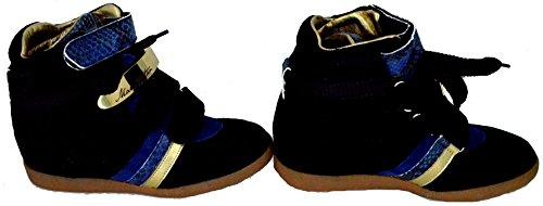Scarpe Donna Zeppa Alta Pelle Serafini Manhattan ZV Python Black Gold Limited Edition Sneakers Shoes 2728