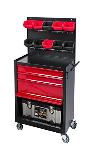 Kreher Werkstattwagen 3 in 1: Werkzeugwagen mit Schubladen und Freifach, Werkzeugwand mit 10...