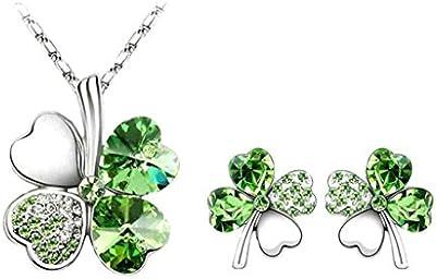 Daesar Juego de Joyas Aleación Collar de Trébol de Cuatro Hojas en Forma de Corazón con Cristales Aretes Collar y Pendientes en Verde