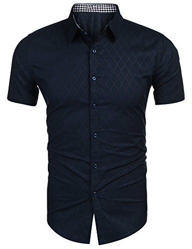 Herren Hemd Kurzarm Sommer shirt Freizeit Männer Bügelleicht Hemden dunkel blau l