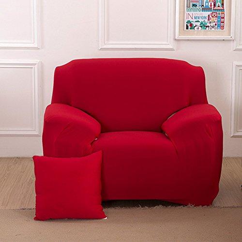 Sofa Bezug 1234-Sitzer-Stoffüberwurf, Schonbezug, elastischer Überwurf für Sofa, Sessel, Couch zum Schutz, Farbe: pure, rot, 1 Seater:90-140cm