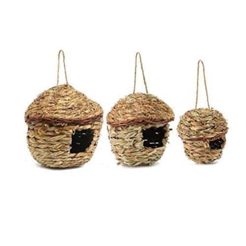 PanDaDa 3PCS Nid d'oiseaux Paille Cage Suspendu Tissée à La Main en 3 Taille Bird Nest pour Perroquet Canari Cockatiel