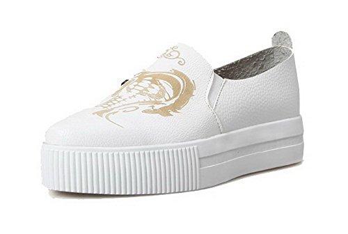 Damen PU Leder Rund Zehe Niedriger Ziehen auf Rein Pumps Schuhe, Weiß, 35 VogueZone009