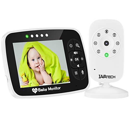 3.5 Zoll LCD Display Babyphone mit Kamera Video Baby Monitor Gegensprechfunktion Digital Kabellose Überwachungskamera, Schlafmodus, Nachtsicht Usw, Lange Standby-Zeit