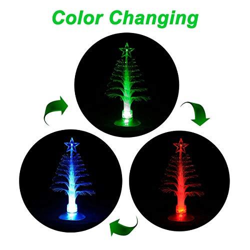 Onivib LED Mini USB alimentato 7colori Fibra ottica - Albero di Natale decorativo con top star Light (cambia colore)