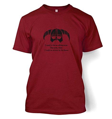 Arrow In The Knee (black detail) Herren t-shirt (Small (34/36)/Cardinal Rot) (S/s T-shirt Cardinal Erwachsene)