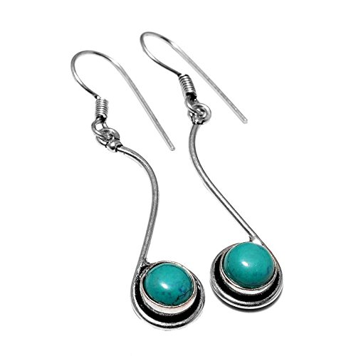 Afashioner's Alloy Oxized Silver Plated Santa Rosa Turquoise Beads Gemstone Dangle drop Earring For Women