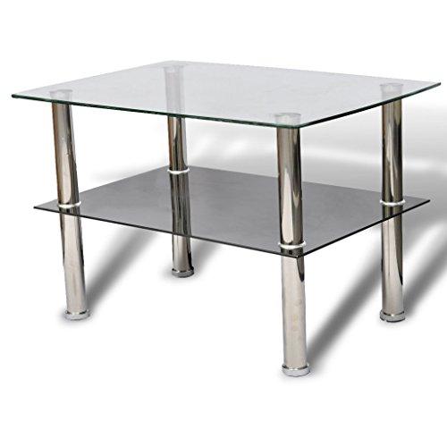 Anself Table Basse de Salon en Verre avec 2 Plateaux 65 x 45 x 43cm