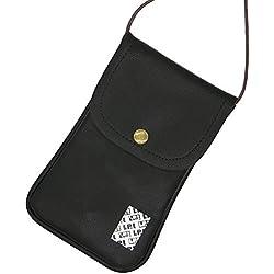 Lefright décontracté Mode Cuir PU téléphone portable Sac pochette Tour de cou et carte de crédit support réglable avec Sling pour iPhone 7Plus 6S 5S 4S Samsung Galaxy S7edge A5, noir (Noir) - RPLDBK