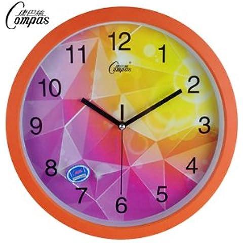 Henggang ,14 circolare , in arancione Home Office Decor moda creativa lo stile di vita moderno decor colorato e singolare dono Mute orologio da parete - Acciaio Arancione Dial