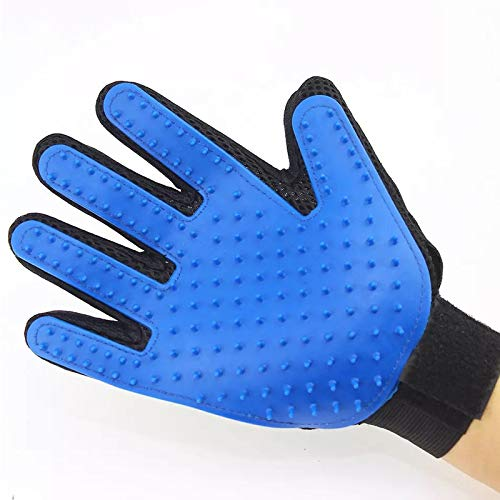 Handschuh für Katzen Katzenpflege Hund Haar Deshedding Pinsel Kamm Handschuh für Hund Finger Reinigung Massage Handschuh für Tier Arbeitshandschuhe (Color : Blue, Style : Right hand) - Haare Finger