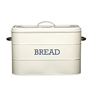 Kitchencraft Living Nostalgia Large Metal Bread Box Bin, Antique Cream