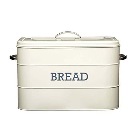 KitchenCraft Living Nostalgia Large Metal Bread Bin, 34 x 21.5 x 25 cm - Antique Cream