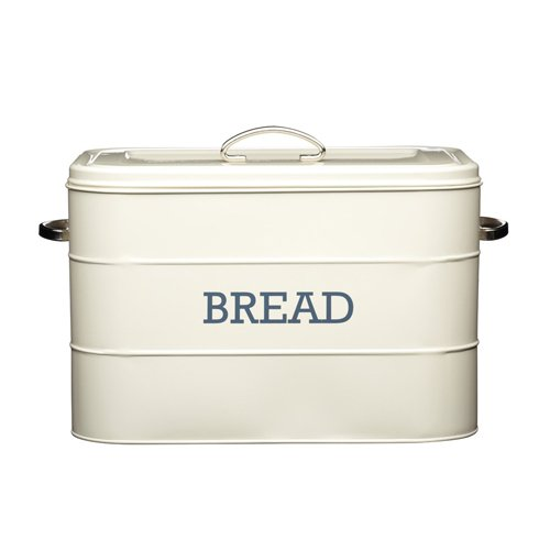 Kitchen Craft Living Nostalgia - Panera de acero, diseño con texto 'BREAD', color beige