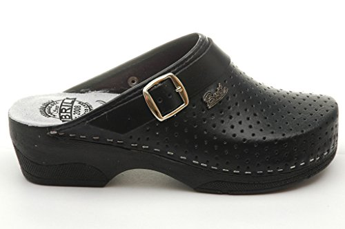Dr Punto Rosso BRIL B2 Sabots Mules Chaussons Chaussures en Cuir Femme Dames Noir