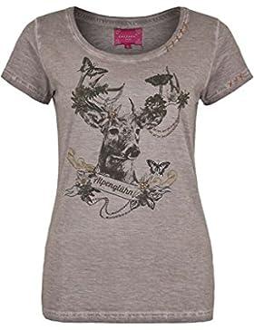 Krüger Madl Damen Damen Trachten T-Shirt Alpenglühn, Grau,