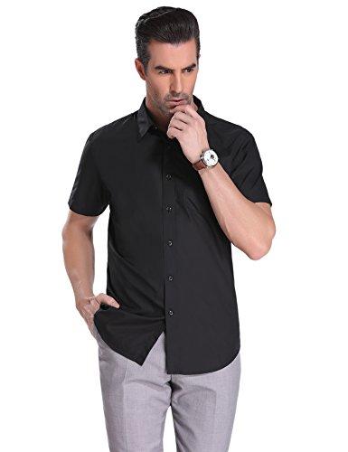 Herren Hemd Slim Fit Kurzarm für Anzug, Business, Freizeit, Business Hochzeit Reine Farbe Hemden.
