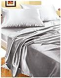 Completo MATRIMONIALE RASO GRIGIO set lenzuola sopra sotto con angoli 2 fodere cuscini