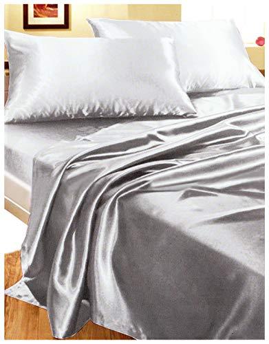 Juego cama matrimonio percal gris arriba bajera Juego