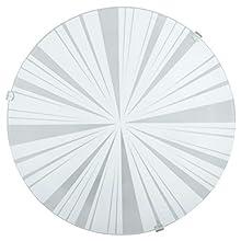 Eglo Mars 1 - Lampada da soffitto a 1 lampada, in acciaio, colore: bianco, vetro bianco satinato, motivo radii, attacco: E27