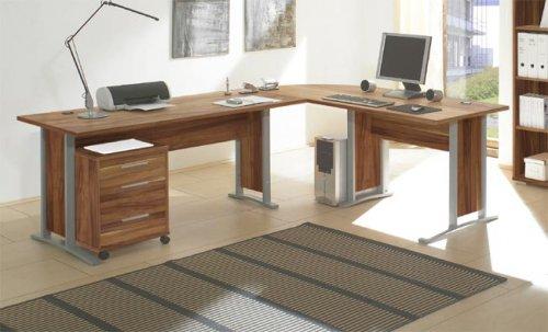 Schreibtisch 751 Büro Tisch Winkelschreibtisch in Nussbaum Nachbildung mit Rollcontainer 39451304