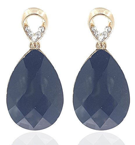 Youbella Jewellery Gold Plated Black Crystal Dangle & Drop Earrings For Women