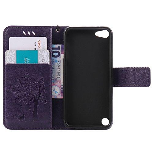 Nancen Wallet Case Tasche Hülle für Apple iPhone 5C (4 Zoll) Flip Schutzhülle Zubehör Lederhülle mit Silikon Back Cover PU Leder Handytasche im Bookstyle Stand Funktion , Schmetterling Schnalle Magnet Baum und Katze-8