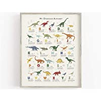 Dinosaur Alphabet Art Print, Dinosaur Room Decor