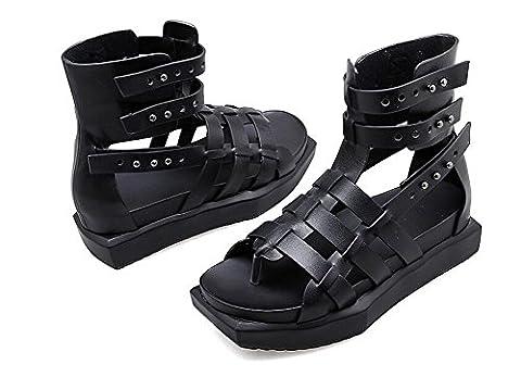 PBXP Plateforme Flip & Flop Monk-straps Cool Women Casual Work Party Elegant Sandals Europe Noir Taille 34-39 , black , 34