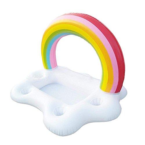 KRUCE Gonflable Rainbow Nuage Porte-Boissons Flottant, Beverage Salade Fruits Servant Bar Piscine Flotteur Party Accessoires Été Loisirs en Plein Air Coupe Bouteille Eau Fun