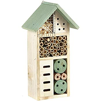 NEW Large Wooden Insect Bee Hive Garden Nesting Box House Natural Wood Shelter