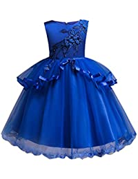 Hawkimin Kinder Mädchen Blume Kleid Prinzessin Stickerei Pageant Kleid Party Brautjungfer Kleid