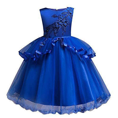 Beikoard Kleinkind Kinder Baby Mädchen Santa Print Prinzessin Kleid Weihnachten Outfits Weihnachten Weihnachtsmann Schneemann Lace Print Prinzessin Kleid (Blau-2, 110)