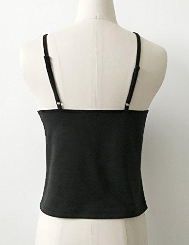 Smile YKK Top à Bretelle Femme T-shirt Sans Manche Fleur Imprimé Casual Voyage Plage Mode Noir