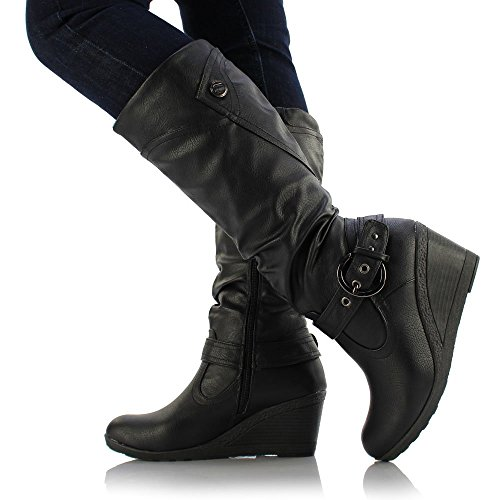 OSLO Style de dames en cuir Medium Flat Wedge Knee High veau Biker Bottes Chaussures Noir