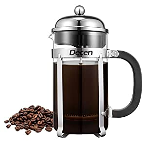 Decen French Press, Glass Cafetiere Coffee Maker Coffee Pot, Heat-Resistant Borosilicate Glass Beaker, 1L / 34oz