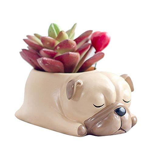 Ljlpropyh Porta Piante Tiny Succulent Planter Pot Simpatico Cane a Forma di Cartoon Animal Plant Vaso da Fiori Scrivania Artigianato Mini Ornamento - Cucciolo (Color : Puppy)